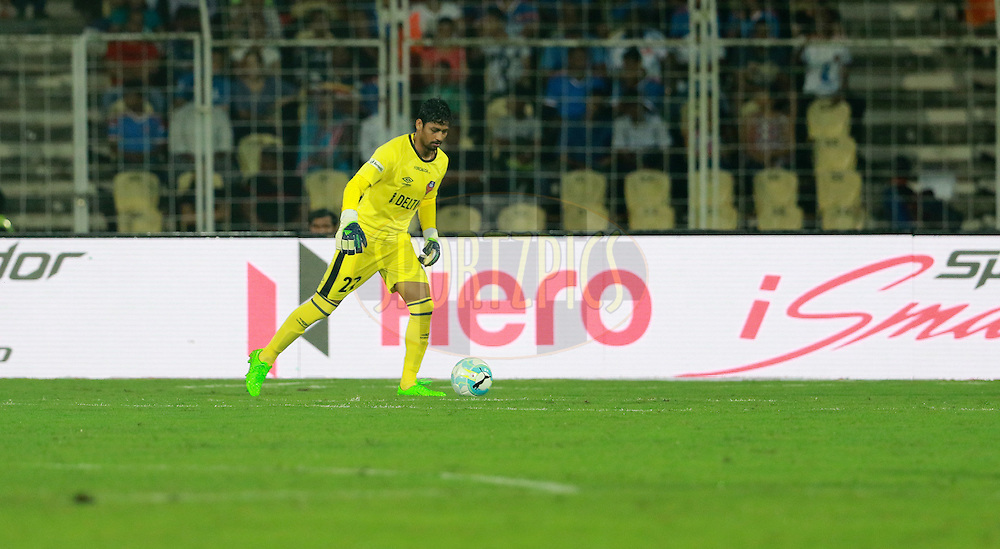 FC Goa goalkeeper Laximikanth Kattimani during match 8 of the Indian Super League (ISL) season 3 between FC Goa and FC Pune City held at the Fatorda Stadium in Goa, India on the 8th October 2016.<br /> <br /> Photo by Vipin Pawar / ISL/ SPORTZPICS