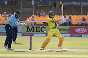 Ellyse Perry cuts for 4 during the Royal London Women's One Day International match between England Women Cricket and Australia at the Fischer County Ground, Grace Road, Leicester, United Kingdom on 4 July 2019.