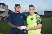 FC Kettledrum captain Cammy Johnstone presents a cheque for &pound;1500 from the Dundee Saturday Morning League to Greg Burke towards the fund raising effort to send Greg's wife Tracey to Germany for cervical cancer treatment <br /> <br /> <br />  - &copy; David Young - www.davidyoungphoto.co.uk - email: davidyoungphoto@gmail.com