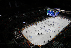May 20, 2011; San Jose, CA, USA; San Jose Sharks and Vancouver Canucks players warm up before game three of the western conference finals of the 2011 Stanley Cup playoffs at HP Pavilion. Mandatory Credit: Jason O. Watson / US PRESSWIRE