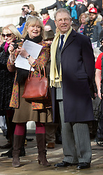 Actor Edward Fox and his wife Joanne David attend he UK's first statue of Charles Dickens  which was unveiled in Portsmouth,Hampshire,UK Friday, 7th February 2014. Picture by i-Images