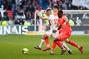 Jordan Ferri of Lyon and Tiémoko Diomande of Caen during the French Championship Ligue 1 football match between Olympique Lyonnais and SM Caen on march 11, 2018 at Groupama stadium in Decines-Charpieu near Lyon, France - Photo Romain Biard / Isports / ProSportsImages / DPPI