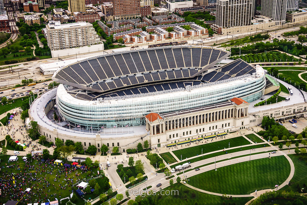 Chicago Soldier Field aerial picture in high resolution. Image was taken from a helicopter and is available as an electronic stock photo or print.