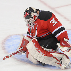 June 9, 2012: New Jersey Devils goalie Martin Brodeur (30) makes a save during third period action in game 5 of the NHL Stanley Cup Final between the New Jersey Devils and the Los Angeles Kings at the Prudential Center in Newark, N.J. The Devils defeated the Kings 2-1.