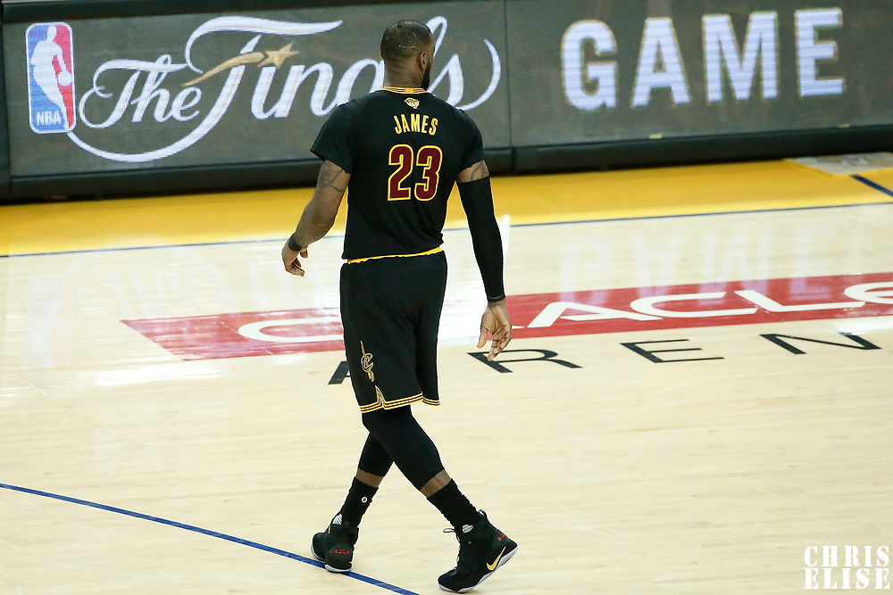 04 June 2017: Cleveland Cavaliers forward LeBron James (23) is seen during the Golden State Warriors 132-113 victory over the Cleveland Cavaliers, in game 2 of the 2017 NBA Finals, at the Oracle Arena, Oakland, California, USA.
