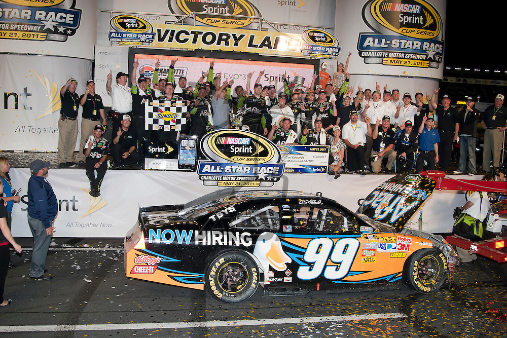 CONCORD, NC - MAY 21, 2011: Carl Edwards wins the All-Star Race at the Charlotte Motor Speedway in Concord, NC.