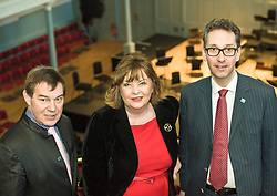 Pictured: Nigel Griffiths, Chair of the Queen's Hall, Fiona Hyslop, Culture Secretary, Gavin Reid, Chief Executive of Scottish Chamber Orchestra<br /> Culture Secretary Fiona Hyslop announced a £650,000 grant for building improvements at the Queen's Hall, Edinburgh. <br /> <br /> <br /> © Jon Davey/ EEm