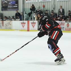 """FORT FRANCES, ON - Apr 30, 2015 : Central Canadian Junior """"A"""" Championship, game action between the Soo Thunderbirds and the Toronto Patriots game five of the Dudley Hewitt Cup. Nicolas Sicoly #7 of the Soo Thunderbirds in the first period.<br /> (Photo by Tim Bates / OJHL Images)"""