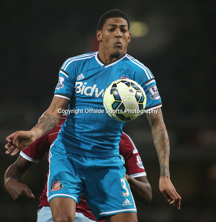 21 March 2015 - Barclays Premier League - West Ham United v Sunderland - Patrick Van Aanholt of Sunderland controls the ball.<br /> <br /> Photo: Ryan Smyth/Offside