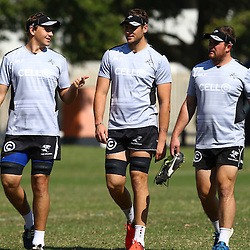 DURBAN, SOUTH AFRICA, 25 August, 2016 - Etienne Oosthuizen  with Ruan Botha and John-Hubert Meyer during the Cell C Sharks XV training session and press conference at Growthpoint Kings Park in Durban, South Africa. (Photo by Steve Haag)<br /> <br /> images for social media must have consent from Steve Haag