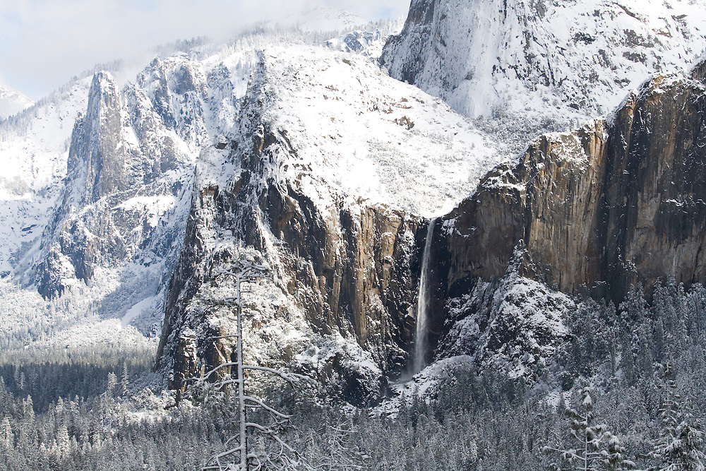 Yosemite's Bridalveil Fall and Cathedral Rocks transformed by Winter