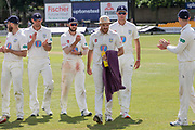 Ben Raine leads the Durham team off the field at the end of the Specsavers County Champ Div 2 match between Leicestershire County Cricket Club and Durham County Cricket Club at the Fischer County Ground, Grace Road, Leicester, United Kingdom on 10 July 2019.