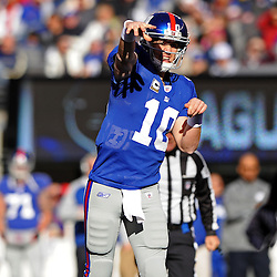 Quarterback Eli Manning #10 of the New York Giants passes during NFL football action between the New York Giants and Jacksonville Jaguars on Nov. 28, 2010 at MetLife Stadium in East Rutherford, N.J.