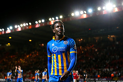 Aristote Nsiala of Shrewsbury Town celebrates after his side beat Charlton Athletic in the first leg of the League One Playoff Semi-Final - Mandatory by-line: Robbie Stephenson/JMP - 10/05/2018 - FOOTBALL - The Valley - Charlton, London, England - Charlton Athletic v Shrewsbury Town - Sky Bet League One