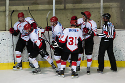 Players of HD Jesenice Mladi celebrate after scoring a goal during Erste Bank Young Stars League ice hockey match between HD Jesenice Mladi and HK Olimpija, on November 4, 2012 in Ledena dvorana Bled, Bled, Slovenia. (Photo by Matic Klansek Velej / Sportida.com)