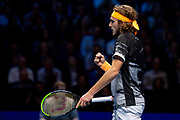 Stefanos Tsitsipas of Greece fist pumps during the Nitto ATP Finals at the O2 Arena, London, United Kingdom on 13 November 2019.