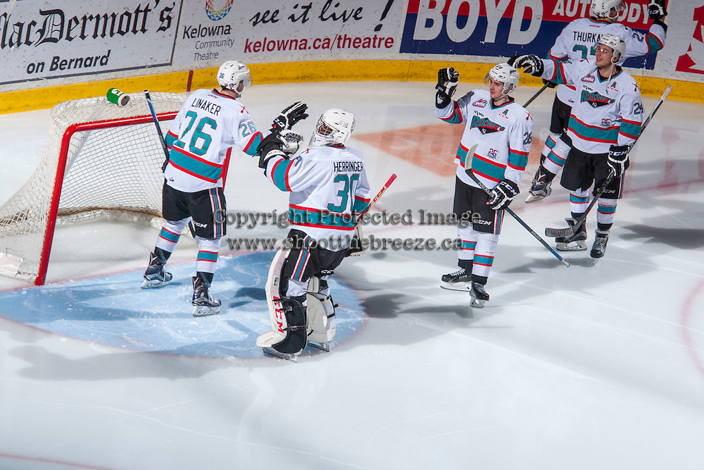 KELOWNA, CANADA - FEBRUARY 27: Cole Linaker #26 of Kelowna Rockets takes part in a pre-game ritual against the Spokane Chiefs on February 27, 2016 at Prospera Place in Kelowna, British Columbia, Canada.  (Photo by Marissa Baecker/Shoot the Breeze)  *** Local Caption *** Cole Linaker;