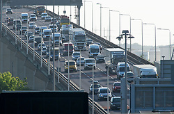 ©Licensed to London News Pictures 13/05/2020<br /> Dartford, UK. Traffic on the Queen Elizabeth II bridge in Dartford, Kent. After seven weeks of Coronavirus lockdown people start to head back to work this morning. Photo credit: Grant Falvey/LNP