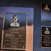 The Joseph Charles DiMaggio plaque at Monument Park, an open-air museum located at the new Yankee Stadium containing a collection of monuments, plaques, and retired numbers honoring distinguished members of the New York Yankees. New York, USA. Photo Tim Clayton