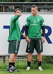 19.08.2011, Trainingsgelaende, Bremen, GER, 1.FBL, Training Werder Bremen, im Bild Sokratis Papastathopoulos (Bremen #22), Marko Arnautovic (Bremen #7)..// during training session from Werder Bremen on 2011/08/19, Trainingsgelaende, Bremen, Germany..EXPA Pictures © 2011, PhotoCredit: EXPA/ nph/  Frisch       ****** out of GER / CRO  / BEL ******