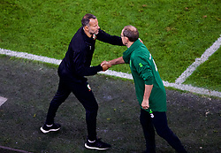 CARDIFF, WALES - Thursday, September 6, 2018: Wales' manager Ryan Giggs shakes hands with Republic of Ireland's head coach Martin O'Neill after the UEFA Nations League Group Stage League B Group 4 match between Wales and Republic of Ireland at the Cardiff City Stadium. Wales won 4-1. (Pic by Laura Malkin/Propaganda)