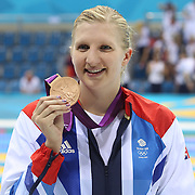 Rebecca Adlington, Great Britain,  winning the Bronze Medal in the Women's 800m Freestyle Final at the Aquatic Centre at Olympic Park,  during the London 2012 Olympic games. London, UK. 3rd August 2012. Photo Tim Clayton