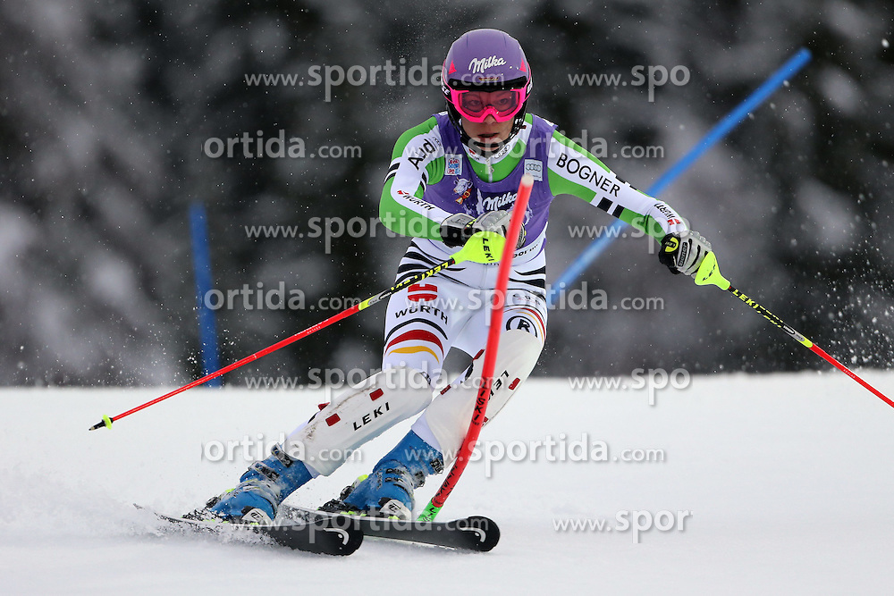 05.01.2014, Stelvio, Bormio, ITA, FIS Ski Alpin Weltcup, Salom, Damen, 1. Durchgang, im Bild Maria Hoefl-Riesch // Maria Hoefl-Riesch in action during 1st run of ladies Slalom of the Bormio FIS Ski World Cup at the Stelvio Course in Bormio, Italy on 2014/01/05. EXPA Pictures &copy; 2014, PhotoCredit: EXPA/ Sammy Minkoff<br /> <br /> *****ATTENTION - OUT of GER*****