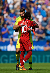 LEICESTER, ENGLAND - Saturday, September 1, 2018: Liverpool's goalkeeper Loris Karius and Sadio Mane during the FA Premier League match between Leicester City and Liverpool at the King Power Stadium. (Pic by David Rawcliffe/Propaganda)