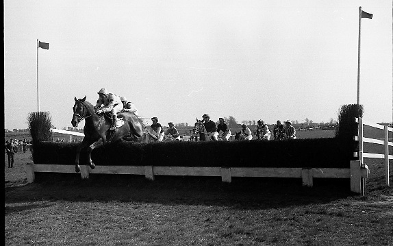 "The 'Powers' Gold Cup, Fairyhouse..1971..13.04.1971..04.13.1971..13th April 1971..The Running of the 'Powers' Gold Cup,sponsored by Irish Distillers, was run today at Fairyhouse, Co Meath..The race was won by 'Glending""ridden by John Donaghy. The horse is owned by Mr J.W.Osborne and trained by Mr P.D.Osborne..Pictured at the second 'Dailyaide' ridden by J.Crowley, jumps well to take an early  lead."