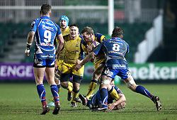 Max Stelling of Worcester Warriors is tackled by Lewis Evans of Newport Gwent Dragons - Mandatory by-line: Robbie Stephenson/JMP - 16/12/2016 - RUGBY - Rodney Parade - Newport, Wales - Newport Gwent Dragons v Worcester Warriors - European Rugby Challenge Cup