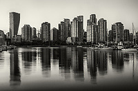 Vancouver Skyline Reflection, Charleson Park (monochrome)