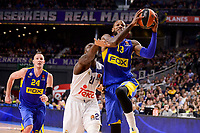 Real Madrid's Othello Hunter and Maccabi Fox's Colton Iverson and Sonny Weens during Turkish Airlines Euroleague match between Real Madrid and Maccabi at Wizink Center in Madrid, Spain. January 13, 2017. (ALTERPHOTOS/BorjaB.Hojas)