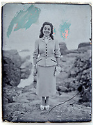 full length portrait of woman on a glass plate photo with retouch markings