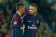 Paris Saint Germain's Brazilian defender Thiago Silva and Paris Saint Germain's French defender Layvin Kurzawa talk during the UEFA Champions League, Group B football match between Paris Saint-Germain and Bayern Munich on September 27, 2017 at the Parc des Princes stadium in Paris, France - Photo Benjamin Cremel / ProSportsImages / DPPI