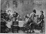 Gunpowder Plot, Roman Catholic conspiracy to blow up English Houses of Parliament on 5 November 1605 when James I was due to open new session. William Parker, Lord Monteagle, receiving a letter of warning of the plot. Wood engraving