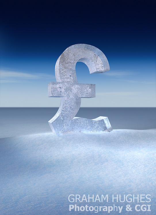 Frozen British pound symbol in snow.