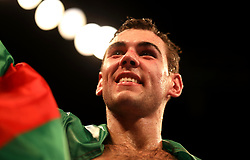 Sergio Garcia celebrates winning the European Super-Welterweight Championship contest at The O2 Arena, London.