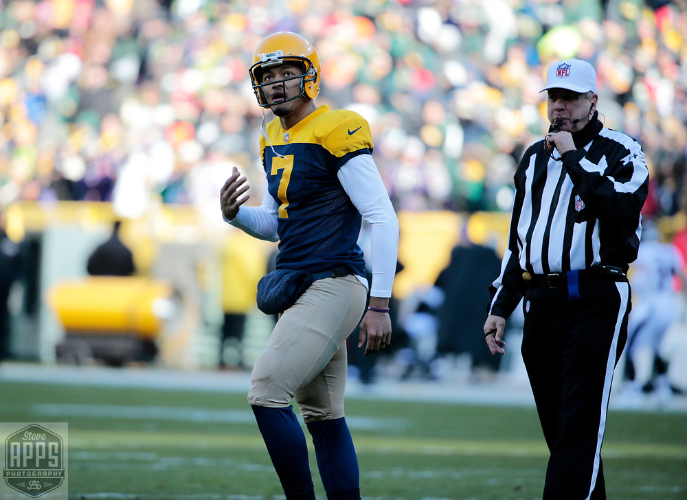 Green Bay Packers quarterback Brett Hundley (7) after a 1st quarter interception. <br /> The Green Bay Packers hosted the Baltimore Ravens at Lambeau Field Sunday, Nov. 19, 2017. STEVE APPS FOR THE STATE JOURNAL.