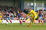 Wimbledon forward Joe Pigott (39) has a penalty saved by Scunthorpe United goalkeeper Jak Alnwick (25) (not pictured) during the EFL Sky Bet League 1 match between Scunthorpe United and AFC Wimbledon at Glanford Park, Scunthorpe, England on 30 March 2019.