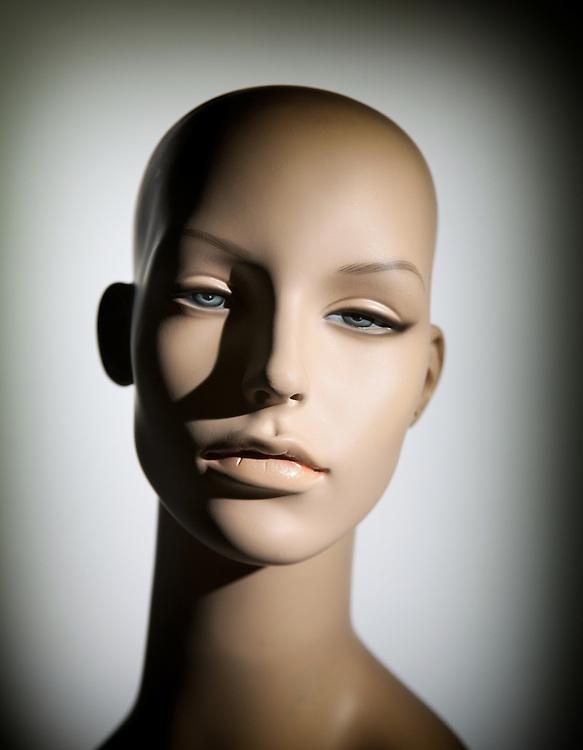 Caucasian female mannequin head.