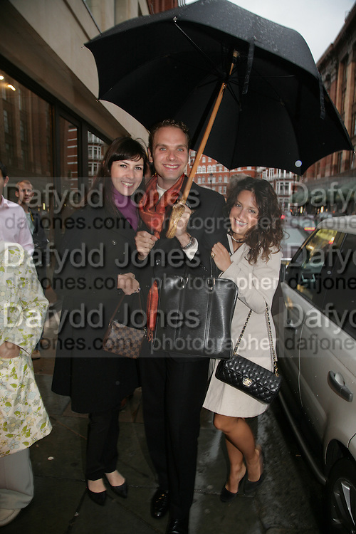 VANESSA MARTINELLI, MICHELE CODONI AND TATINA DE MARINIS PAPACHRISTIDIS. De Grisogono & Londino Car Rally  party. <br />Pal Zileri, Hans Crescent London, W1, 22 August. Launch of car rally which takes drivers through London, France, Switzerland and finally to Portofino .  -DO NOT ARCHIVE-© Copyright Photograph by Dafydd Jones. 248 Clapham Rd. London SW9 0PZ. Tel 0207 820 0771. www.dafjones.com.