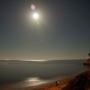 Santa Barbara beach at night.<br /> Santa barbara, CA.