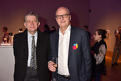 Left to right, Deyan Sudjic and Charles Kirwan-Taylor at CURE³ - private view in aid of The Cure Parkinsons Trust held at Bonhams, 101 New Bond Street, London England. 13 March 2017.