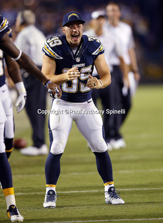 San Diego Chargers running back Danny Woodhead (39) yells out from the sideline after a score during the 2015 NFL preseason football game against the Dallas Cowboys on Thursday, Aug. 13, 2015 in San Diego. The Chargers won the game 17-7. (©Paul Anthony Spinelli)