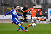 Ed Upson (6) of Bristol Rovers battles for possession with Connor Ronan (40) of Blackpool during the EFL Sky Bet League 1 match between Bristol Rovers and Blackpool at the Memorial Stadium, Bristol, England on 15 February 2020.