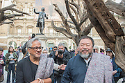 Both doing interviews  (in front of Ai Weiwei's Trees) before leaving the Royal Academy in a media scrummage - Anish Kapoor and Ai Weiwei go for a walk in London - The two artists have joined hands to walk out of London on Thursday. Each will carry a single blanket as a symbol of the need that faces 60 million refugees in the world today. The Artists have said that they welcome Londoners to join them along their route and ask that Londoners too bring a blanket in gesture of support. The artists will repeat this action in cities across the world over the next few months. The walk started at 10am on Thursday 17th September, at the Royal Academy of Arts passed: Piccadilly Circus; Trafalgar Square; Whitehall;  St Paul's Cathedral; Bank and ended up at Stratford.
