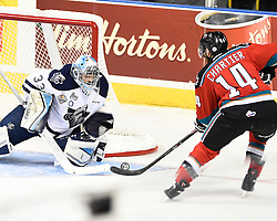 Game 4 action at the 2015 MasterCard Memorial Cup between the Rimouski Oceanic and Kelowna Rockets at Pepsi Colisee in Quebec City on Monday May 25, 2015. Photo by Aaron Bell/CHL Images