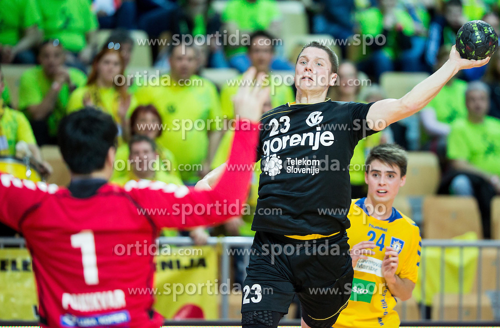 Rok Golcar of RK Gorenje during handball match between RK Koper 2013 and RK Gorenje Velenje in Semifinal of Slovenian Handball Cup 2015, on March 28, 2015 in Arena Bonifika, Koper, Slovenia. Photo by Vid Ponikvar / Sportida