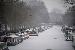 © Licensed to London News Pictures. 02/03/2018. London, UK. Further snowfall covers the landscape in Little Venice, Westminster, London. The 'Beast from the East' and Storm Emma have brought extreme cold, ice and heavy snow to the UK. Photo credit: Ben Cawthra/LNP