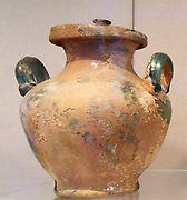 Glass cinerary urn with lid. Roman 1st century A.D.